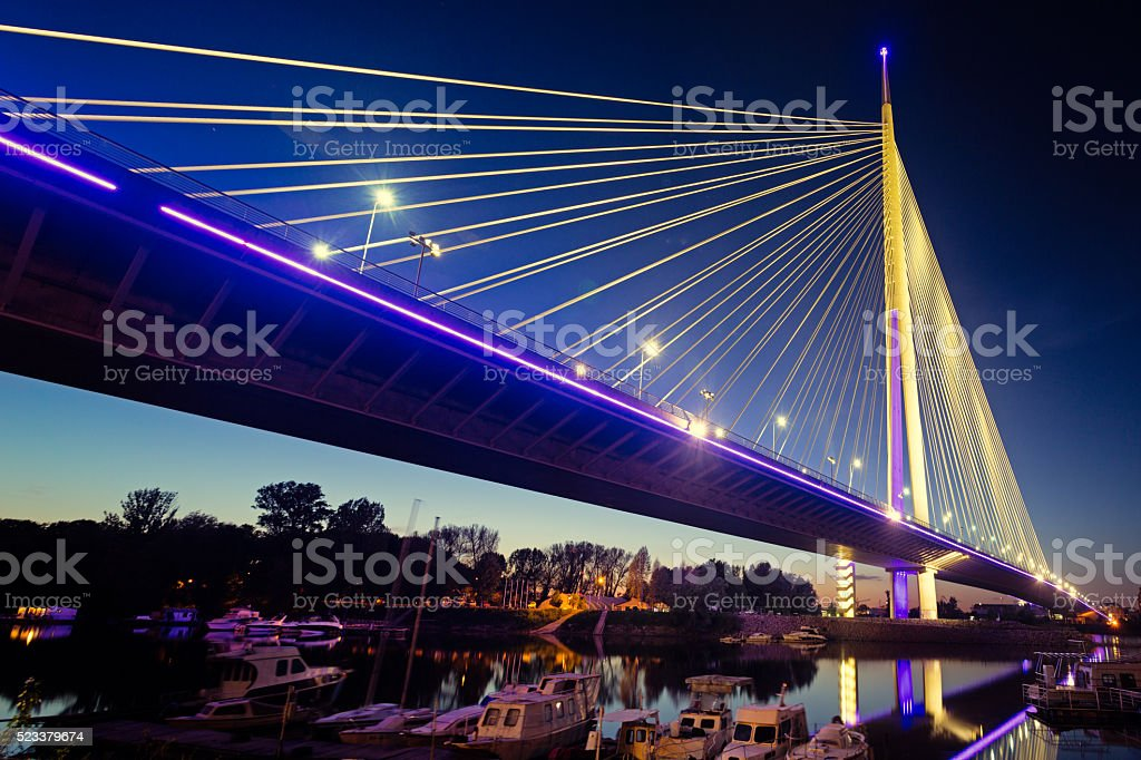 Ada Bridge at night, Belgrade, Serbia stock photo