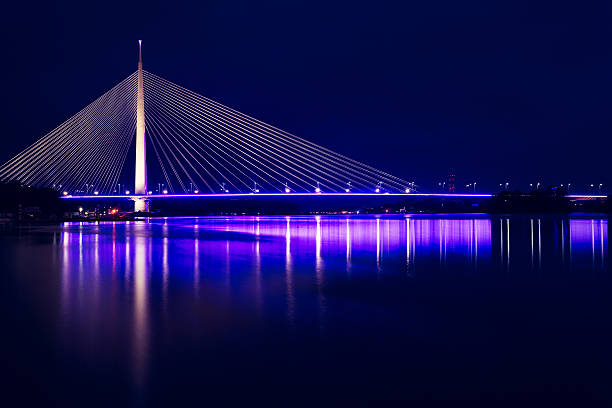 ada bridge, belgrade, serbia - serbia stock photos and pictures