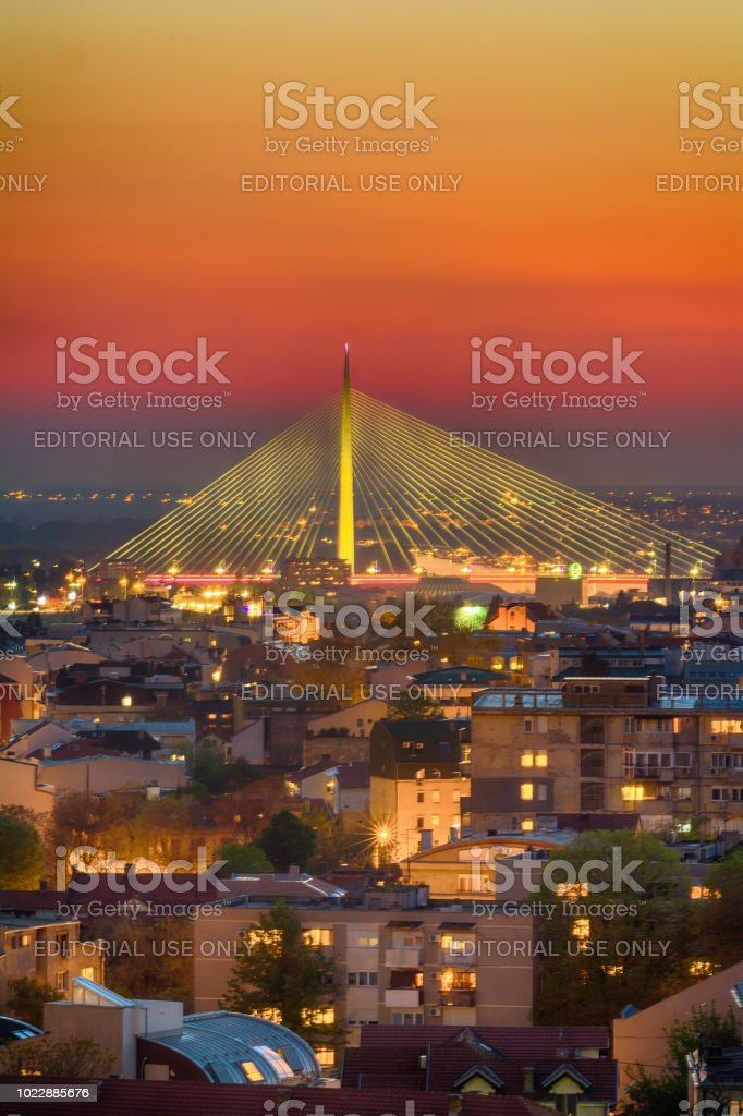 Ada bridge in Belgrade stock photo