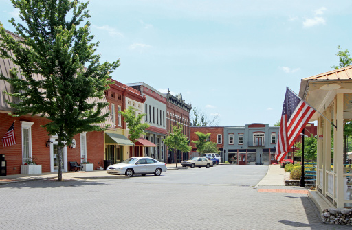 The small North Georgia town of Adairsville, located in Northwest Georgia, approximate population of 4600 people.  A small Southern town's preserved 19th century main street shopping area.  Small town USA.