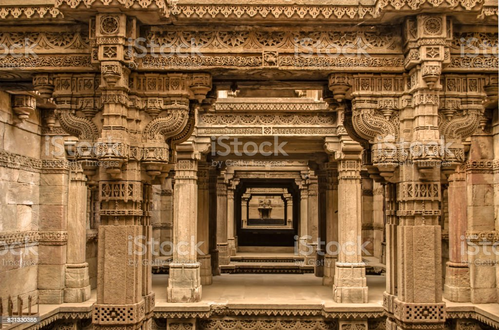 Adalaj stepwell - Indian Heritage tourist place, ahmedabad, gujarat - world heritage city. stock photo