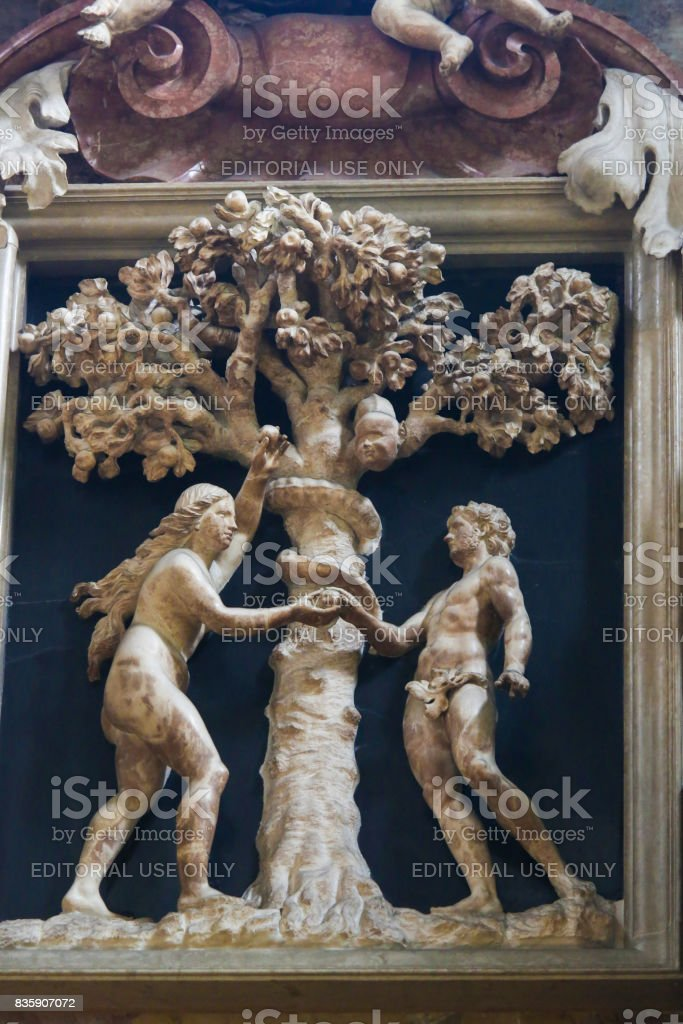 Adam and Eve and the Forbidden Fruit stock photo
