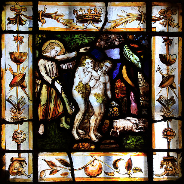 Adam and Eve banished from Paradise stock photo