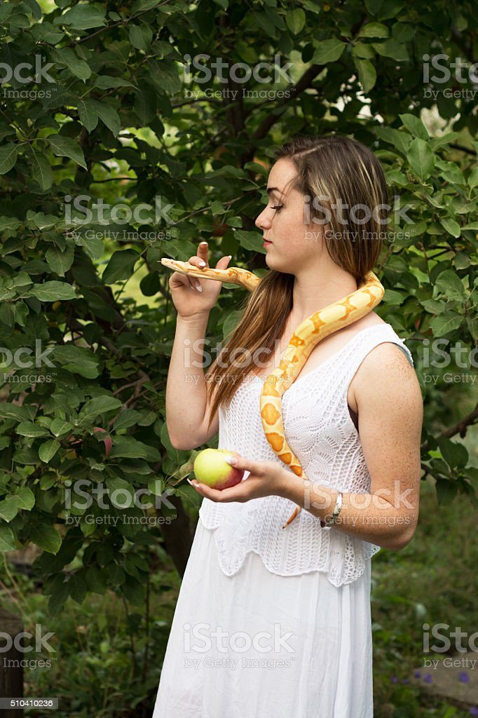 Adam and Eve concept: Eve holding Snake's head and apple. stock photo
