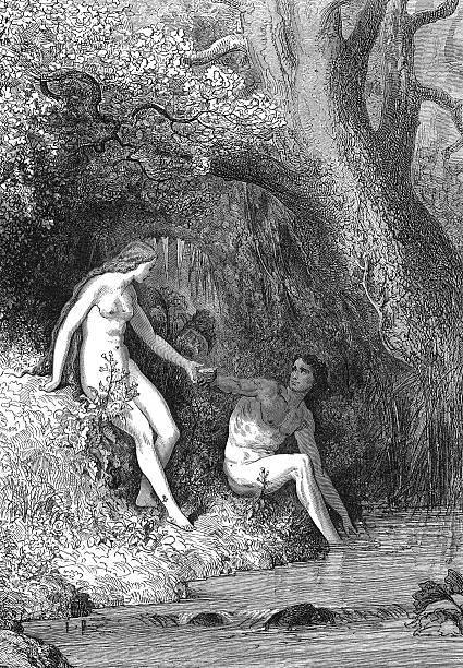 adam and eve - jardim do eden - fotografias e filmes do acervo