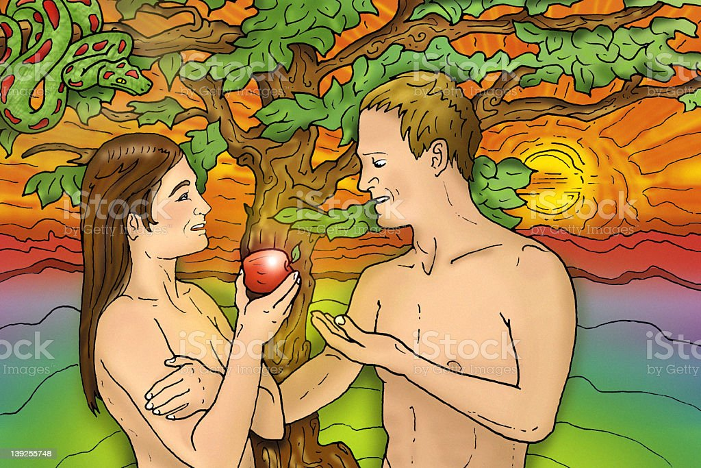 Adam & Eve in paradise stock photo