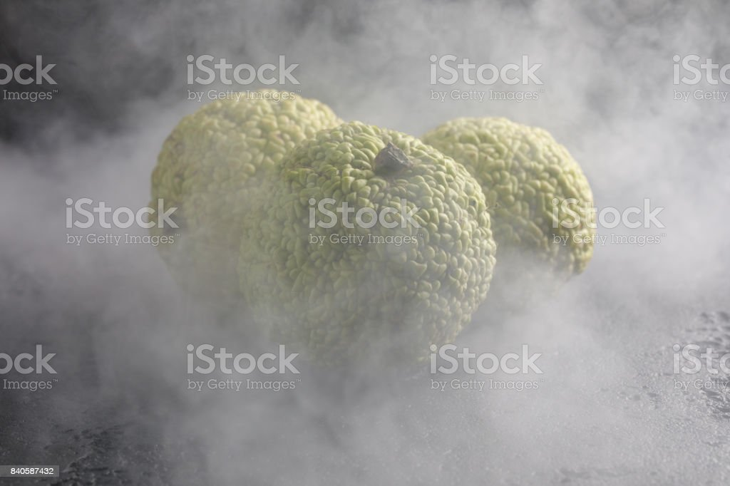 Adam's apples on a black background in smoke. Adam's apples, like dragon eggs wrapped in smoke. stock photo