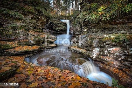 Adams Falls, Ricketts Glen State Park, Pennsylvania in Autumn