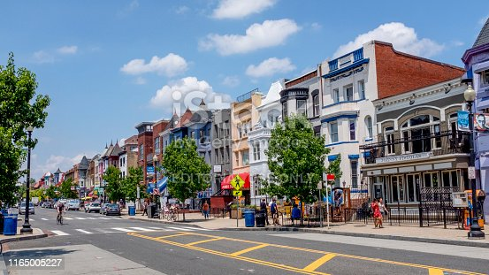 The heart of Adams Morgan neighborhood of Washington DC, on a bright summer's day.
