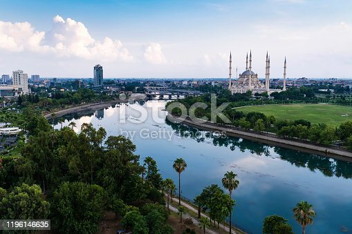 Adana, Turkey, in June, 2019 / Adana Sakip Sabanci Mosque and Top View Park. Adana / Turkey