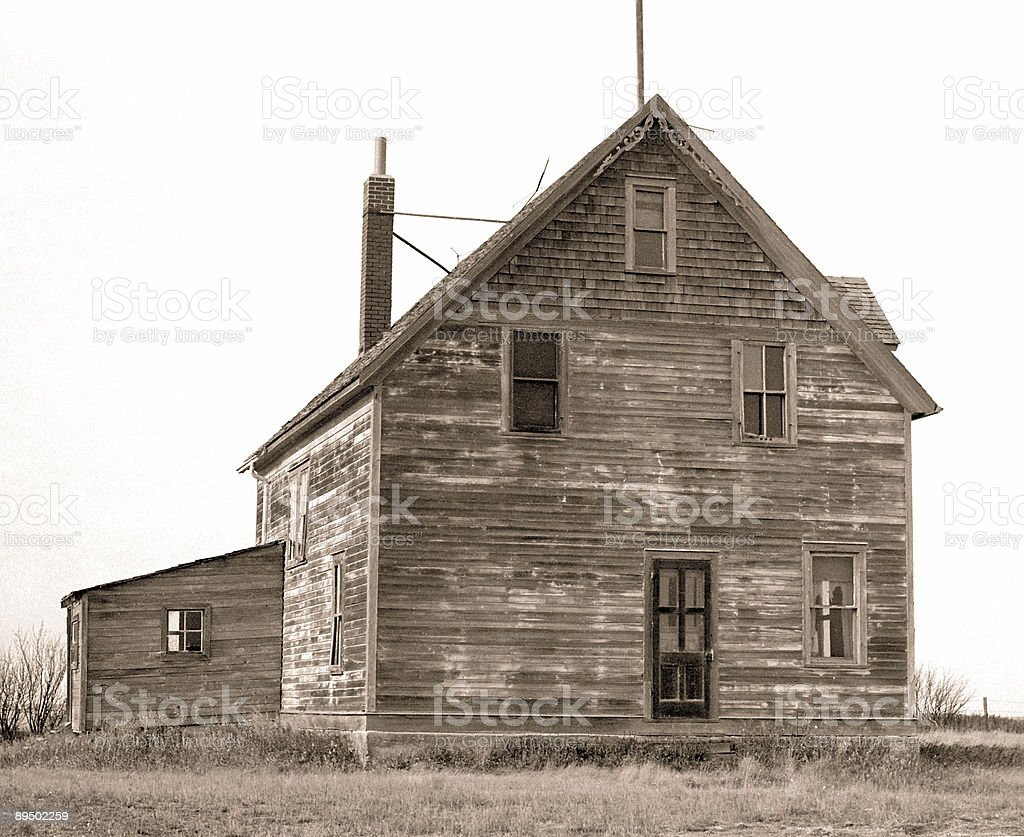Adandoned Farm House in Black and White royalty-free stock photo