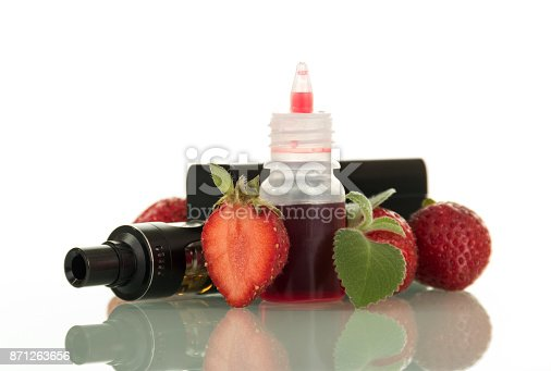 177005367 istock photo Adaptation for smoking and liquid with fresh berry taste isolated on white 871263656