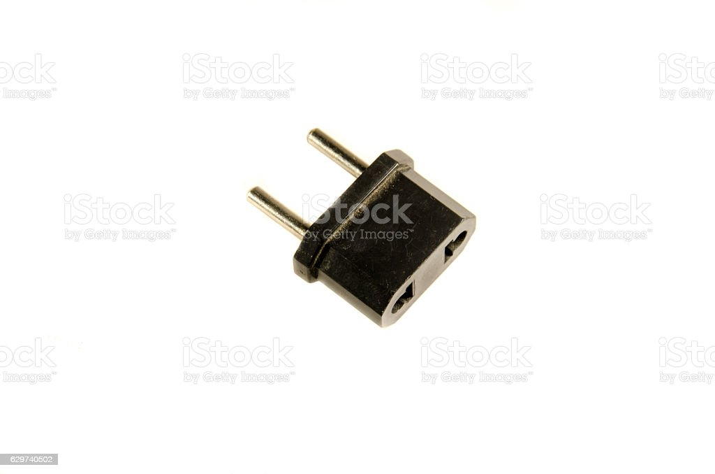 Adapter for european socket isolated on white stock photo