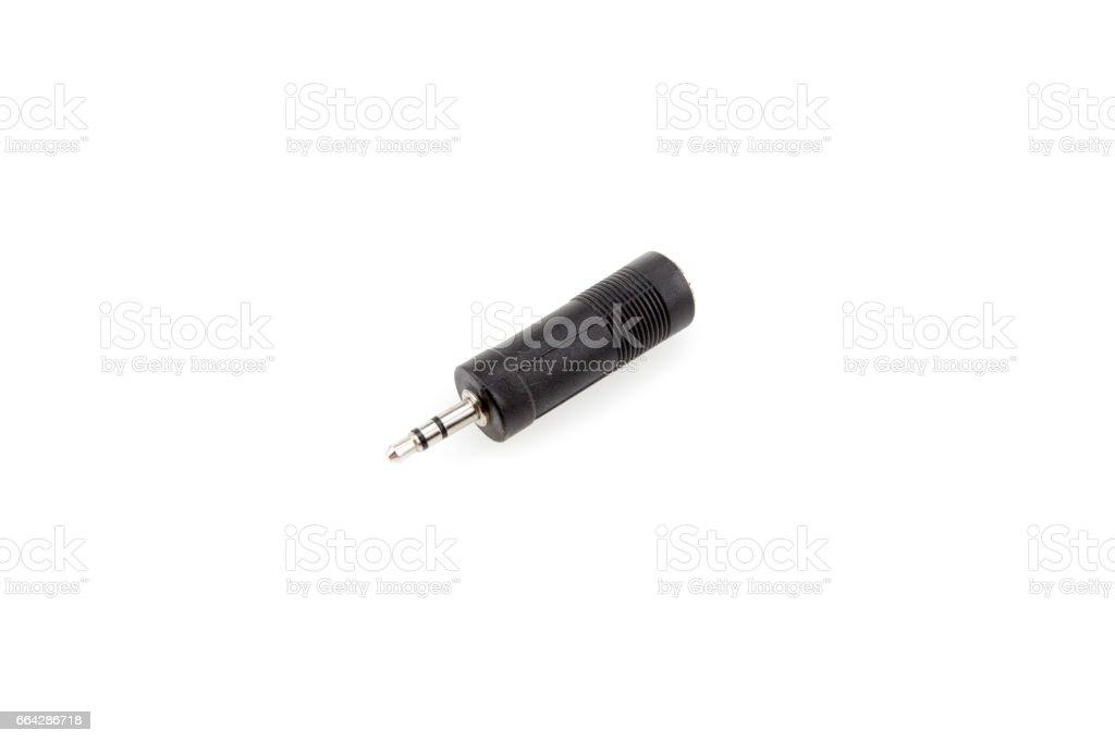 Adapter jack to mini-jack stock photo