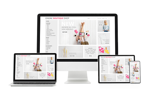 Adaptive and responsive web design concept showing sample website on different tech gadgets and screen sizes. Isolated on white