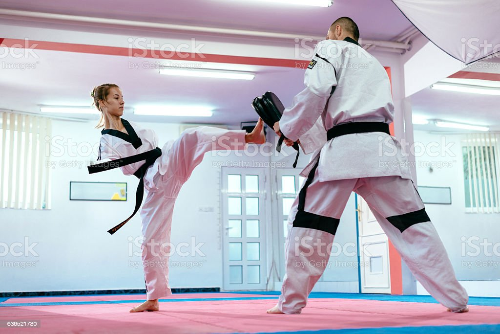 Adaptive athlete on taekwondo training stock photo