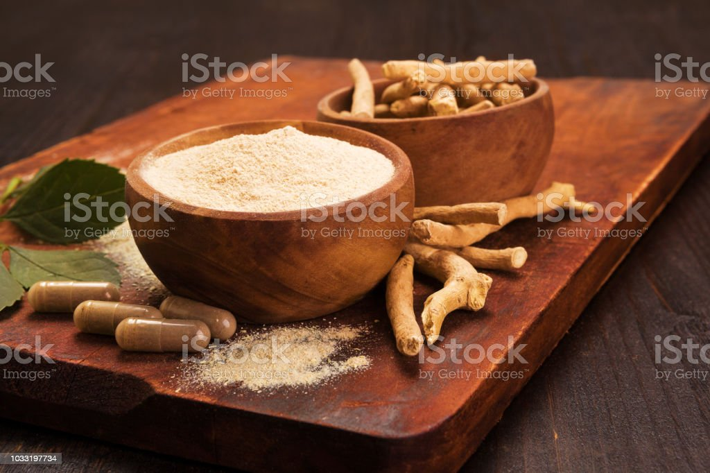 Adaptogen ashwagandha root and powder. stock photo