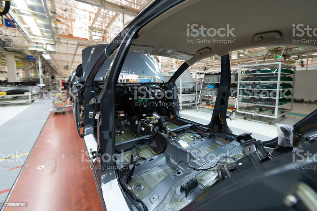 Automated car Assembly line. The plant of the automotive industry....