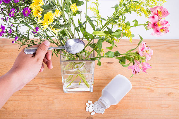 Add grounded acetylsalicylic acid tablet into vase keep flowers Add grounded acetylsalicylic acid tablet into vase with water to keep cut flowers fresher. acetylsalicylic stock pictures, royalty-free photos & images