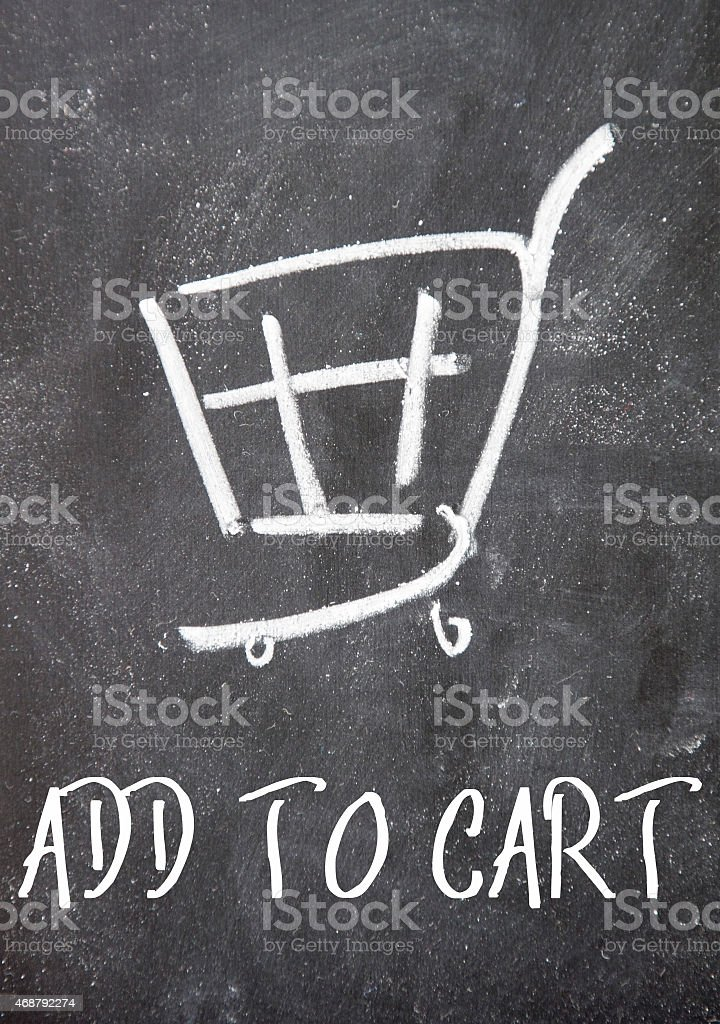 add to cart sign on blackboard stock photo