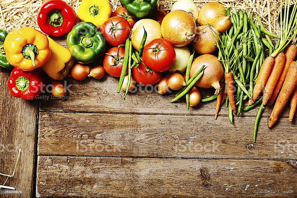 Add your message to this fresh vegetable border stock photo