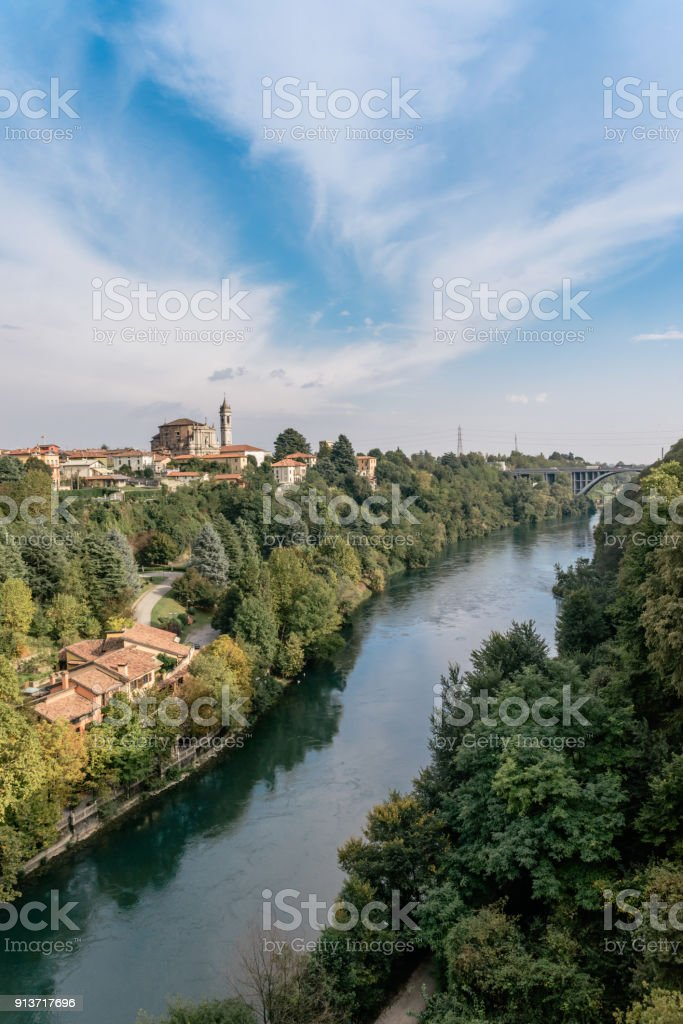 Adda is a river in North Italy, a tributary of the Po. It rises in the Alps near the border with Switzerland and flows through Lake Como stock photo