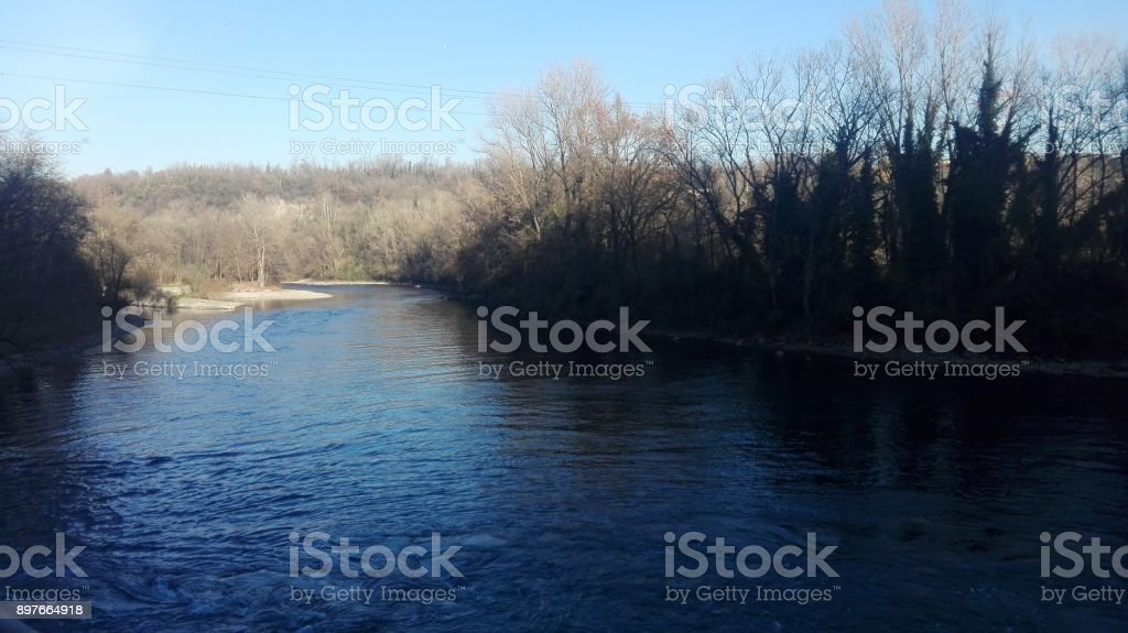 Adda river in Lombardy stock photo
