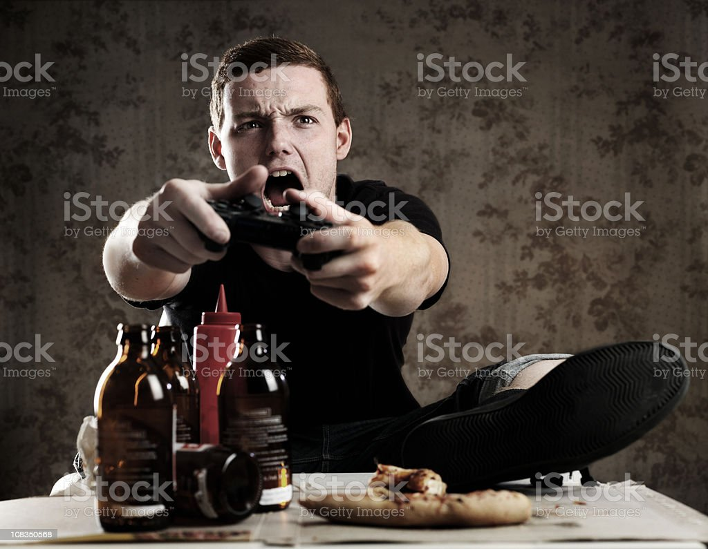 Addicted gamer royalty-free stock photo