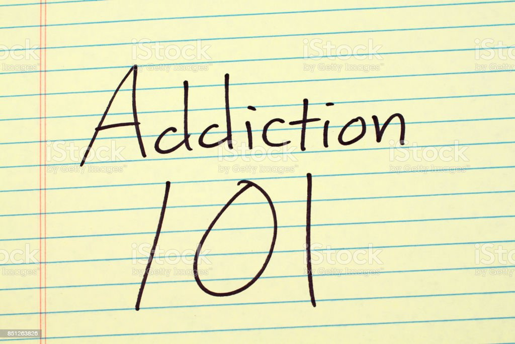 Addiction 101 On A Yellow Legal Pad stock photo