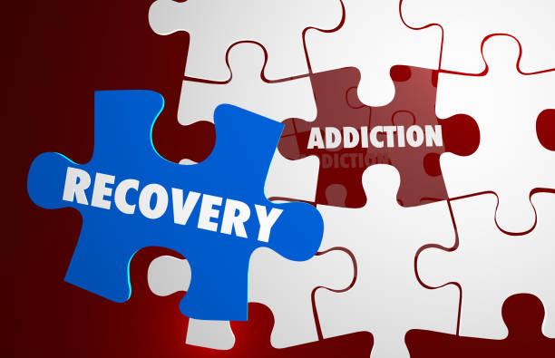 dipendenza recupero calcio abitudine puzzle parole illustrazione 3d - assuefazione foto e immagini stock