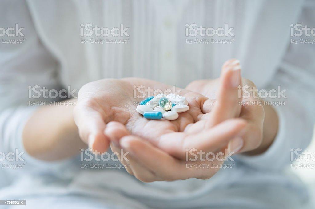 Addiction to medicines stock photo
