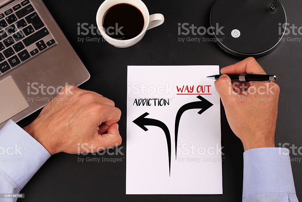 Addiction way out. Prevention and cure addiction problem concept. stock photo
