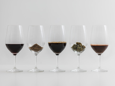 istock Addictions  Coffee, Chocolate, wine, cannabis and tobacco in wineglasses. 636551528