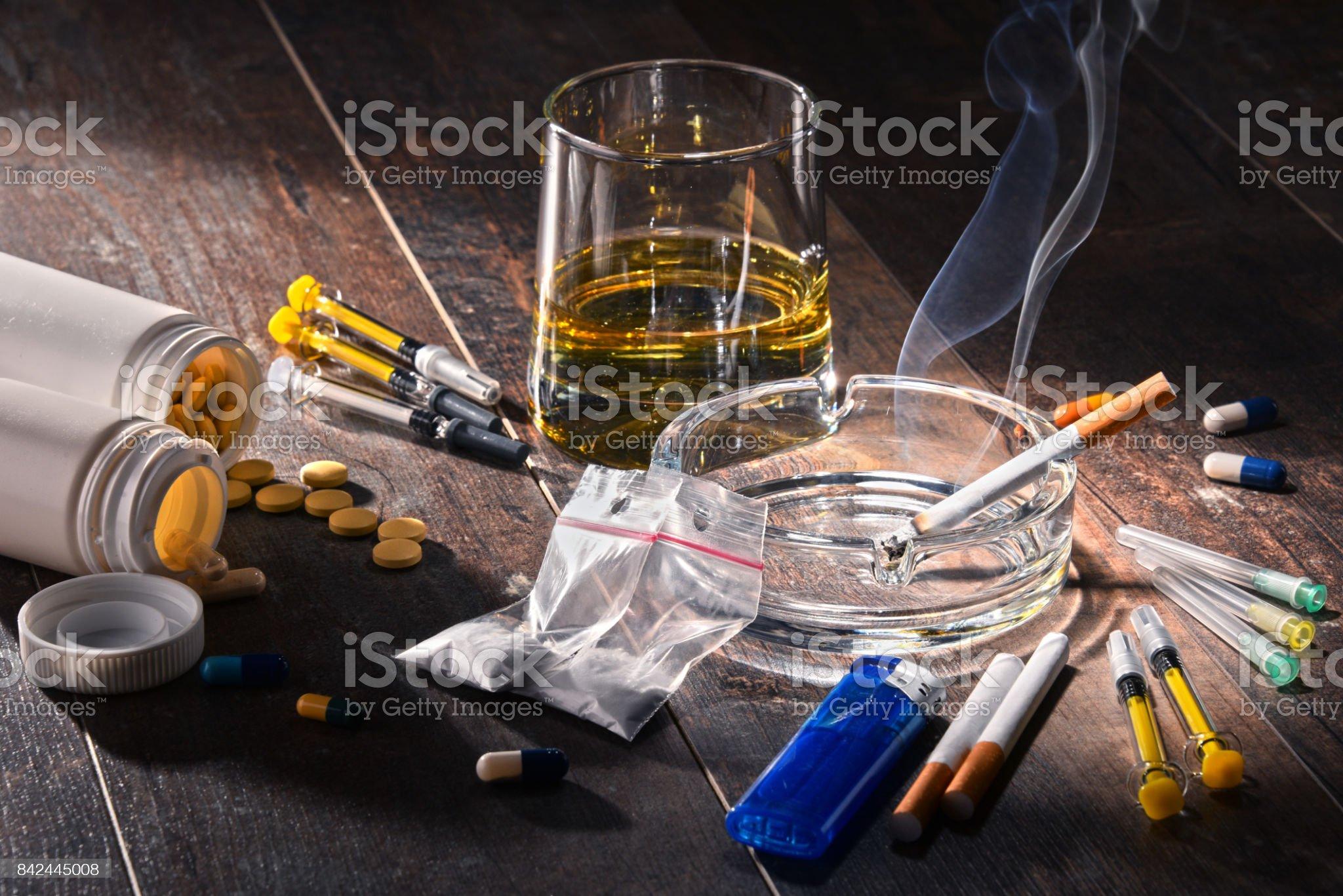 Addictive substances, including alcohol, cigarettes and drugs Addictive substances, including alcohol, cigarettes and drugs. Recreational Drug Stock Photo