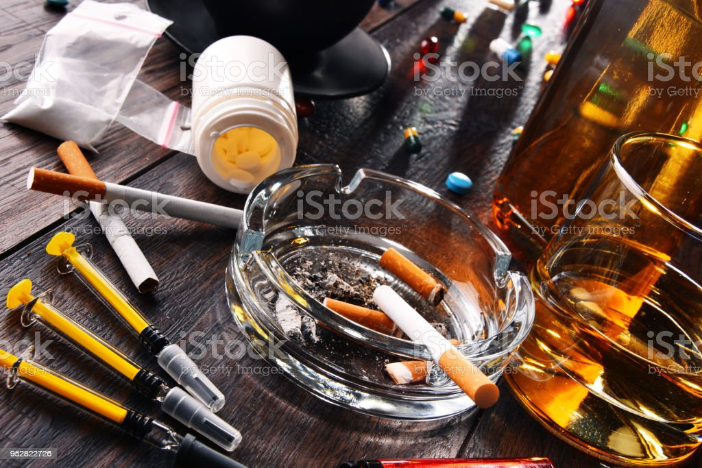 Addictive substances, including alcohol, cigarettes and drugs stock photo