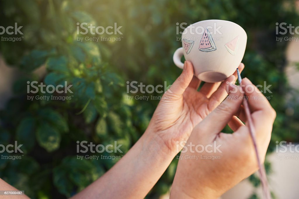 Adding her personal touch stock photo