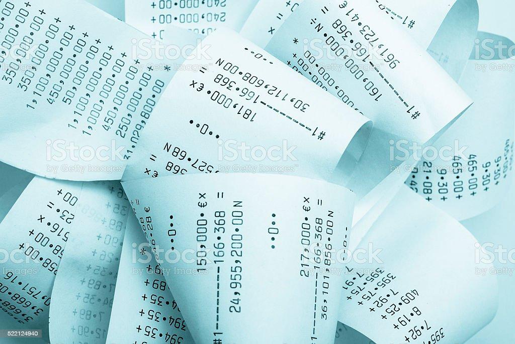 Adding machine printouts stock photo