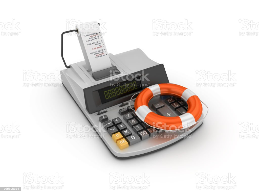 Adding Machine Tape Calculator and Life Belt - 3D Rendering stock photo