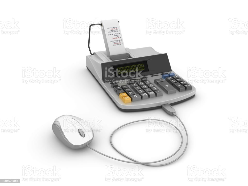 Adding Machine Tape Calculator with Computer Mouse - 3D Rendering zbiór zdjęć royalty-free