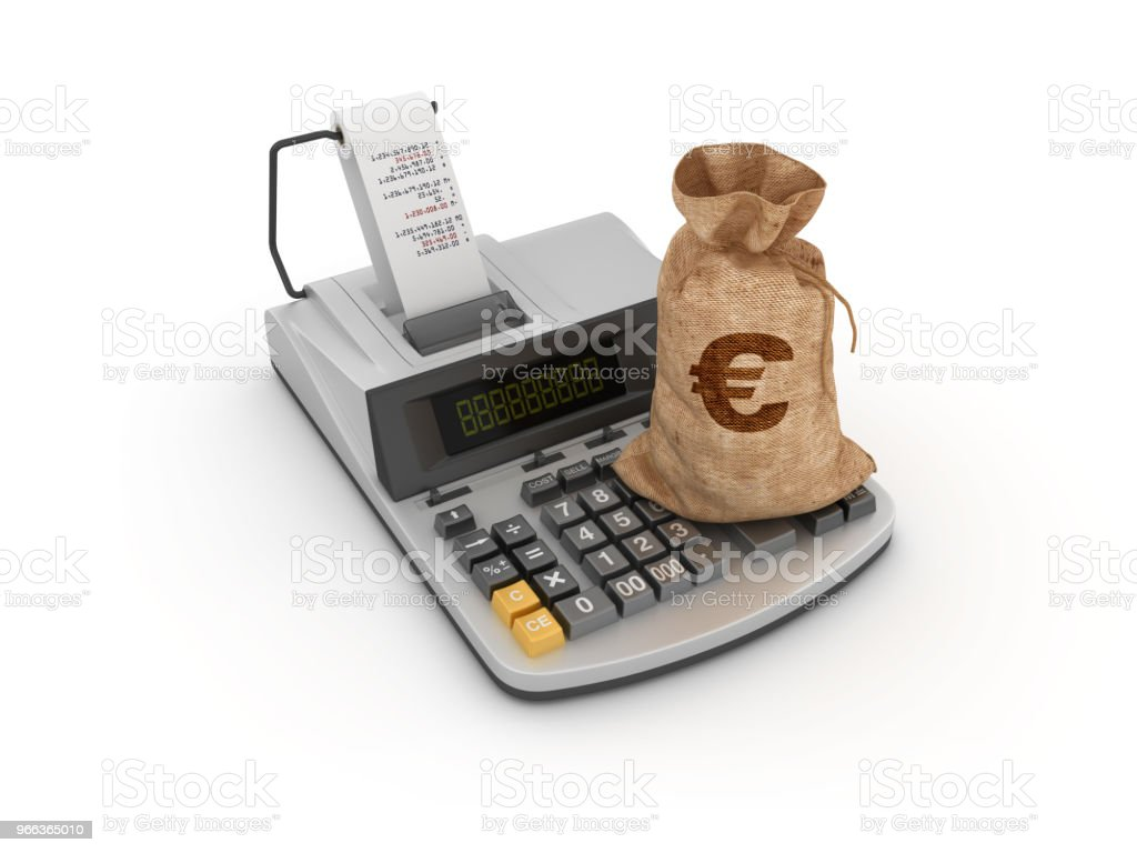 Adding Machine Tape Calculator with Euro Money Sack - 3D Rendering stock photo