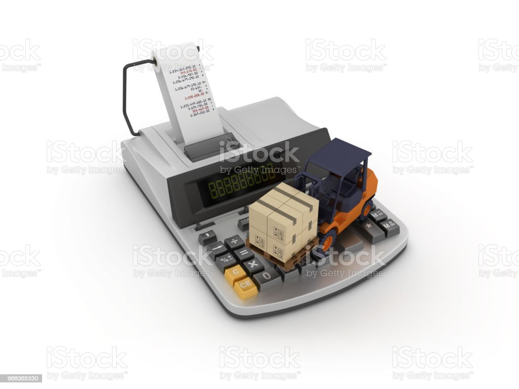 Adding Machine Tape Calculator With Forklift 3d Rendering Stock