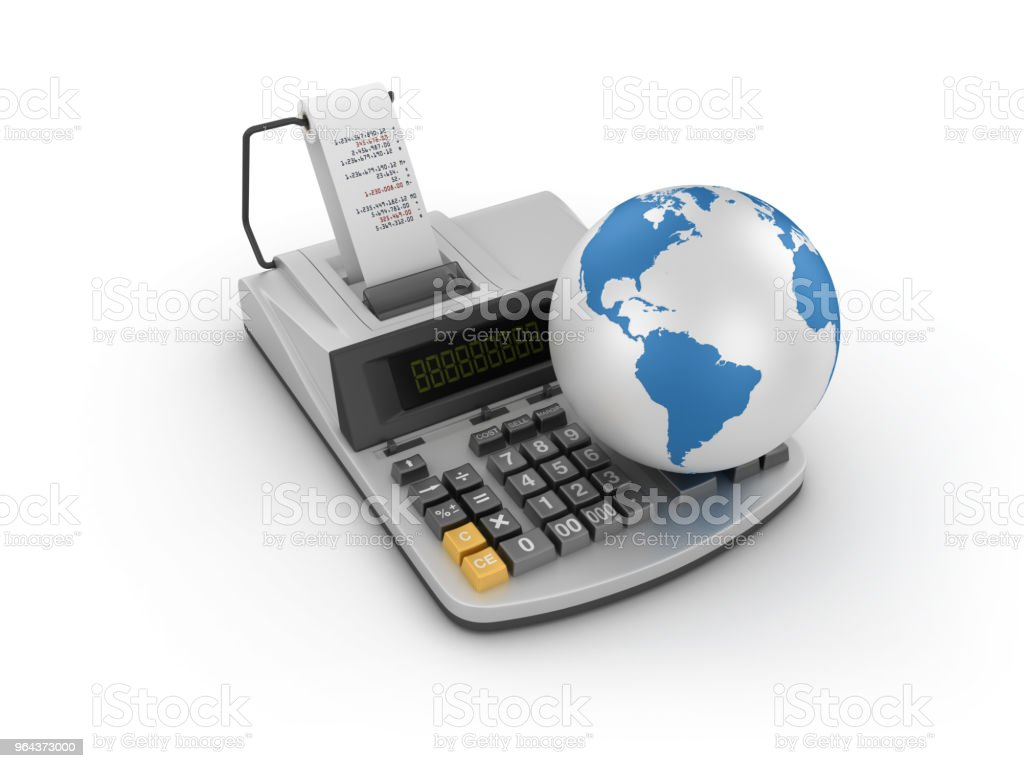 Adding Machine Tape Calculator With Globe World 3d Rendering Stock Photo -  Download Image Now