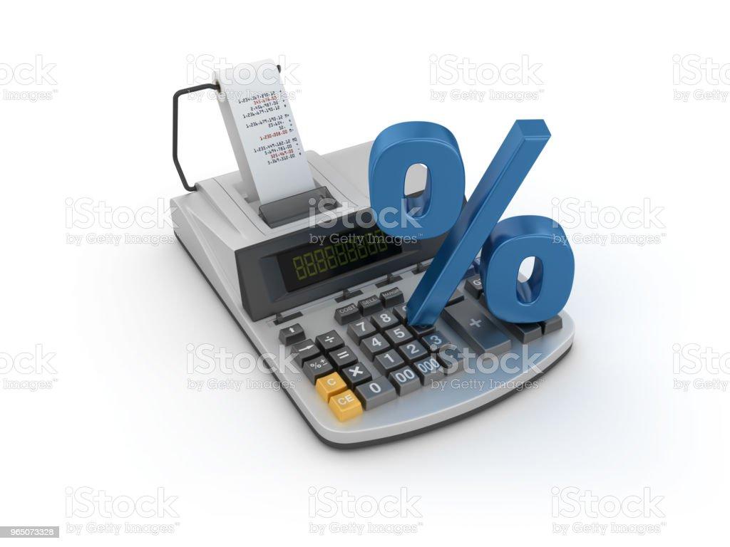 Adding Machine Tape Calculator with Percentage Symbol - 3D Rendering zbiór zdjęć royalty-free
