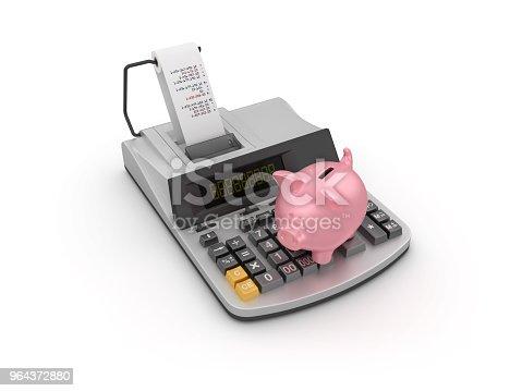 istock Adding Machine Tape Calculator with Piggy Bank - 3D Rendering 964372880
