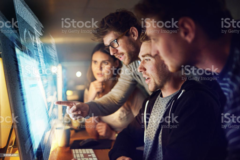 Adding modifications to their latest code stock photo