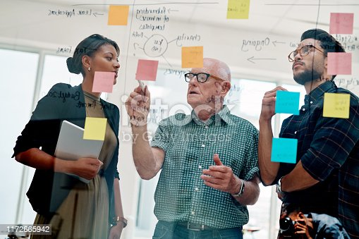 Shot of a group of three creative businesspeople brainstorming ideas and writing notes on a glass wall inside their office