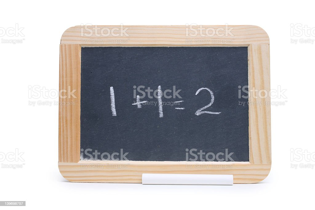 Addition math problems written on a small chalk board royalty-free stock photo