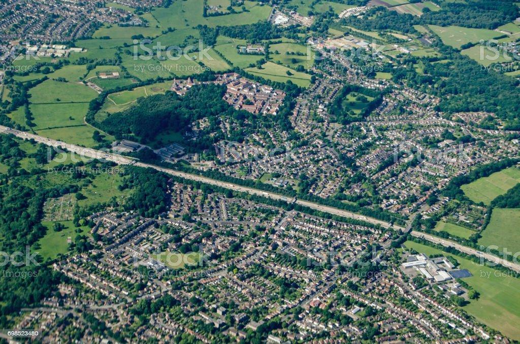 Addlestone, Surrey - Aerial View stock photo