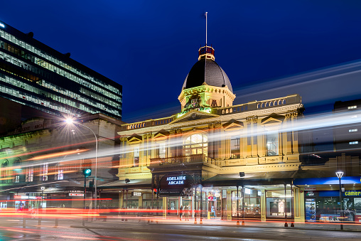 Adelaide Arcade building at night