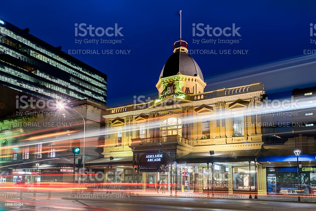 Adelaide Arcade building at night stock photo